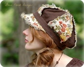 Earthy Brown Floral Print Newsboy Hat, Vintage Syle Fabric Hat