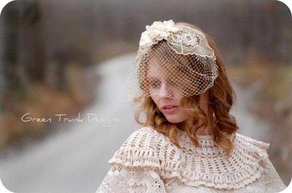 Shabby Wedding Headband  Flapper Inspired Bridal Veil Hair Piece