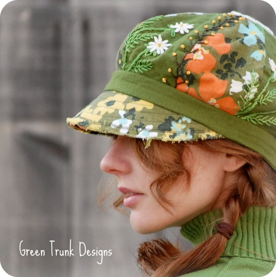 Spring Flower Embroidered Newsboy Hat