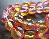 Czech Glass Beads 8mm Two Tone Pink and Yellow Faceted Rounds - 8 Pieces