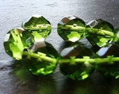 Czech Glass Beads 12mm Faceted Olive Green Rounds - 6 Pieces