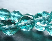Czech Glass Beads 10mm Faceted Teal Aqua Rounds - 12 Pieces