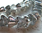 Czech Glass Beads 8.5 X 6.5 Clear Half Silver Coated Flowers - 10 Pieces