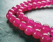 Jade Beads 6mm Fuchsia Hot Pink Candy Smooth Rounds -  16 Pieces