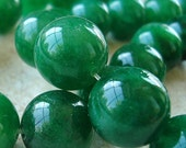 Quartz Beads 14mm Emerald Green Crystal Smooth Round Balls - 6 Pieces