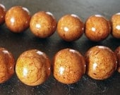 Fossil Beads 8mm Natural Rust Chestnut Brown Smooth Round Stones - 12 Pieces