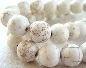 Turquoise Beads 10mm Natural Bleached White Smooth Rounds - 12 Pieces
