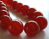 Carnelian Beads 12mm Natural Carrot Pumpkin Orange Rounds - 8 Pieces