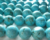 Turquoise Beads 6mm Natural Aqua Blue Turquoise Smooth Rounds - 8 inch Strand