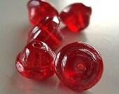 Czech Glass Beads 10 x 8mm Ruby Red Iridescent Bells - 6 Pieces