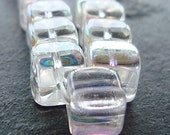 Czech Glass Beads 10mm Clear Aurora Borealis Coated Smooth Square Cubes - 12 Pieces