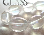 Glass Beads 16 x 12mm Clear w/ Iridescent Aurora Borealis Finish Ovals - 6 Pieces