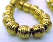 Brass Beads 7 x 6mm Golden Solid Raw Honeycomb Ovals - 8 Pieces