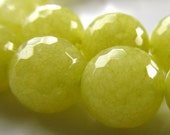 Jade Beads 12mm Pistachio Green Micro Faceted Rounds -  8 Pieces