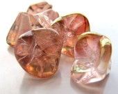 Czech Glass Beads 12 x 10mm Big Picasso Pink Bell Flowers - 12 Pieces