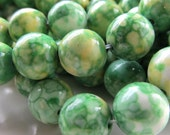 Flower Stone Beads 10mm Yellow White & Lime Smooth Round Stones - 12 Pieces