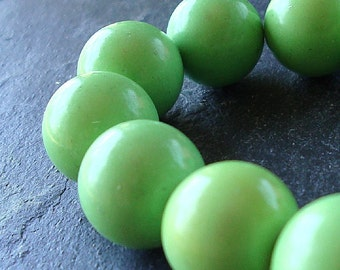Turquoise Beads 12mm Natural Apple Green Turquoise Smooth Rounds - 8 Pieces