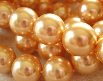 Shell Pearl Beads 10mm Lustrous Saffron Golden Smooth Shiny Rounds  - 6 Pieces