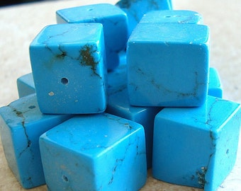 Turquoise Beads 12mm Natural Aqua Blue 3D Cube Squares - 6 Pieces
