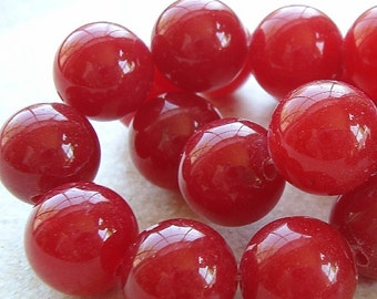 Quartz Beads 12mm Cherry Red Crystal Smooth Round Balls - 8 Pieces