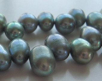 Pearl Beads 8 x 6mm Lustrous Fern Green Freshwater Dancing Pearls - Half Strand