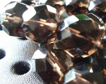 Smoky Quartz Beads 8mm Faceted Chocolate Brown Rounds - 6 Pieces