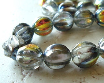 Czech Glass Beads 10mm Crystal Clear Half Vitrail Coated Round Melons - 8 Pieces