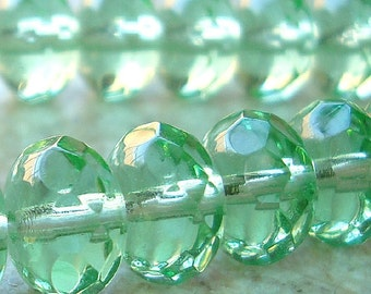 Czech Glass Beads 9 x 5mm Mint Green Faceted Rondelles - 8 Pieces