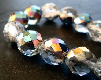 Czech Glass Beads 12mm Iridescent AB Half Coated Vitrail Faceted  Rounds - 8 Pieces