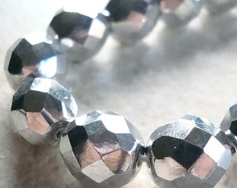 Czech Glass Beads 10mm Metallic Silver Faceted Rounds - 10 Pieces