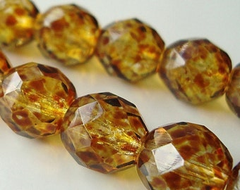Czech Glass Beads 8mm Honey Tortoise Faceted Rounds - 8 Pieces