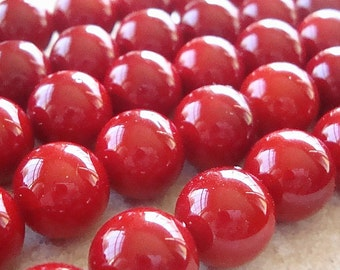 Shell Pearl Beads 10mm Lustrous Crimson Red Smooth Rounds  - 6 Pieces