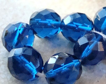 Czech Glass Beads 10mm Faceted Dark Aqua Blue Rounds - 8 Pieces