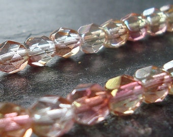 Czech Glass Beads 6mm Two Tone Pink Peach Faceted Round - 16 Pieces