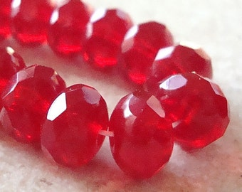 Czech Glass Beads 9 x 5mm Ruby Red Faceted Rondelles - 10 Pieces