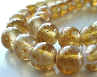 Glass Beads 9 x 8mm Smooth Amber Yellow Roundishs Beads -8 pieces