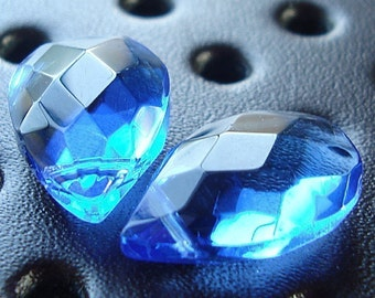 Glass Beads 18 X 12mm Brilliant Puffed Sapphire Blue Faceted Briolettes - 2 Pieces