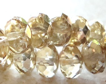 Czech Glass Beads 9 x 5mm Half Gold - Half Clear Faceted Rondelles - 10 Pieces