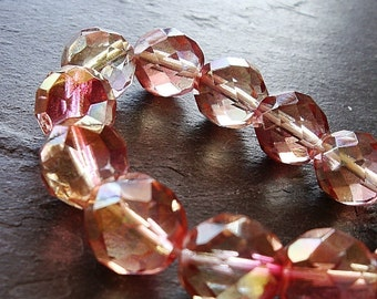 Czech Glass Beads 10mm Faceted 2 Tone Peach Pink Rounds - 12 Pieces