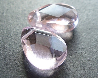 Glass Beads 15 X 10mm Brilliant Puffed Light Pink Crystal Faceted Briolettes - 2 Pieces