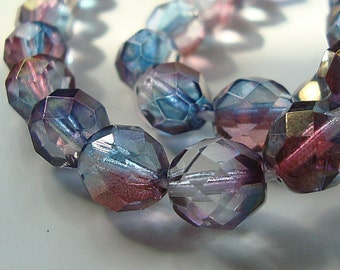 Czech Glass Beads 8mm Two Tone Pink and Teal Faceted Rounds - 12 Pieces