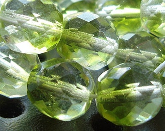 Czech Glass Beads 10mm Faceted Two Tone Crystal/Lime Rounds - 8 Pieces