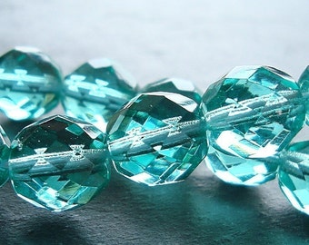 Czech Glass Beads 10mm Faceted Teal Aqua Rounds - 12 Pieces