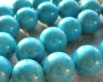 Fossil Beads 12mm Natural Aqua Blue Smooth Round Stones - 8 Pieces