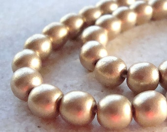 Czech Glass Beads 6mm New Gold Satin Finish Smooth Rounds - 12 Pieces