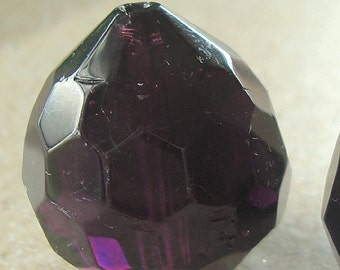 Glass Beads 25 x 22mm Aubergine Purple Faceted Lead Safe Crystal Onion - 1 Piece