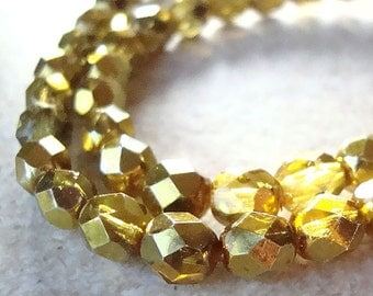 Czech Glass Beads 6mm Bright Metallic Gold Faceted Rounds - 18 Pieces