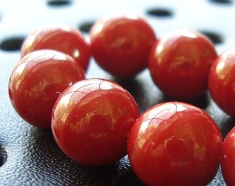 Czech Glass Beads 8mm Opaque Valentine Red Sparkled Gold Smooth Rounds - 12 Pieces