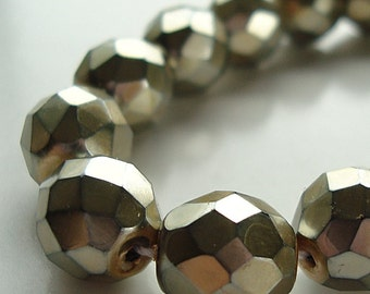 Czech Glass Beads 10mm Metallic Gold Faceted Rounds - 6 Pieces