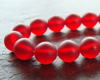 Czech Glass Beads 8mm Cranberry Matte Smooth Rounds - 10 Pieces